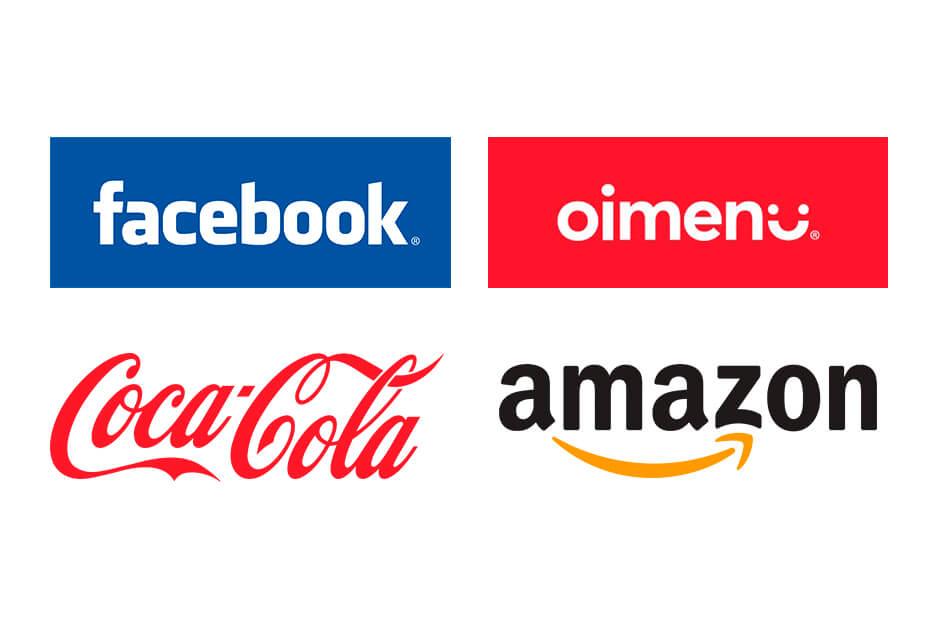 Facebook, oimenu, Coca-Cola, e Amazon.